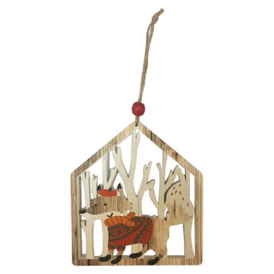 Ξύλινο Χριστουγεννιάτικο κρεμαστό σπιτάκι 00001247