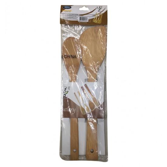 Σετ 2 ξύλινες κουτάλες από μπαμπού 00101459