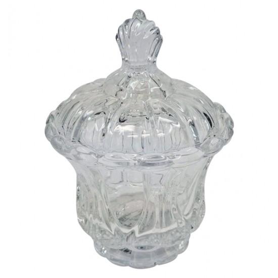 Γυάλινη φοντανιέρα με καπάκι Φ10cm 00203179
