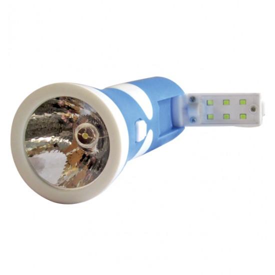 Πλαστικός επαναφορτιζόμενος φακός led 400mAh με 6 led στην λαβή 00600045