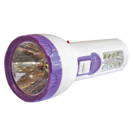 Πλαστικός επαναφορτιζόμενος φακός led 400mAh με 8 led στην λαβή 00600046