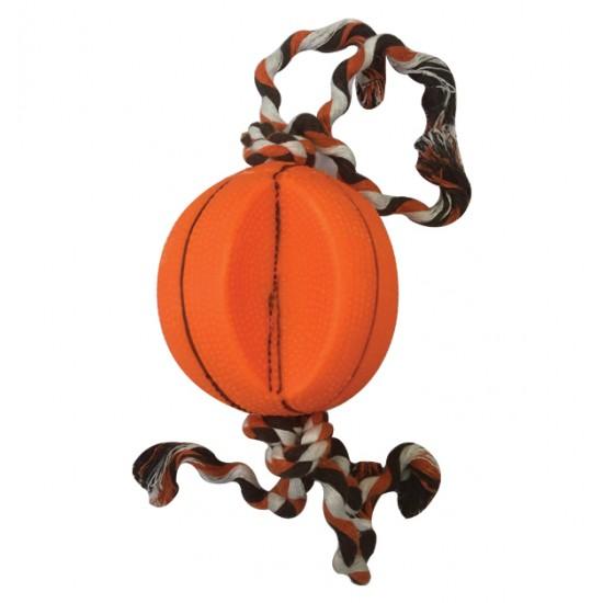 Παιχνίδι σκύλου μπάλα με σχοινί 9cm 10501593