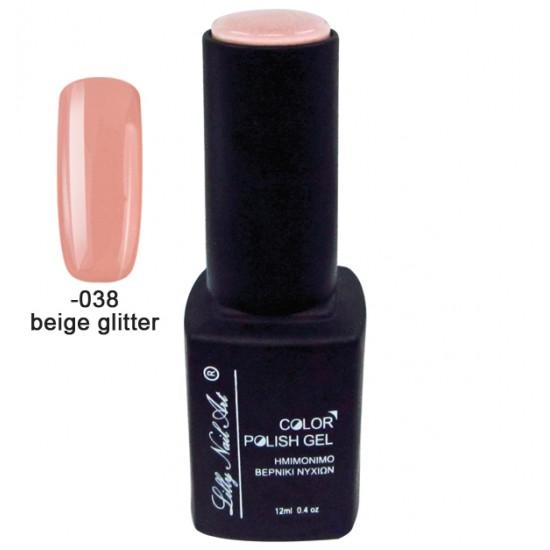 Ημιμόνιμο τριφασικό μανό 12ml - Beige glitter 40504008-038