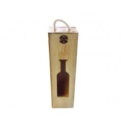 Ξύλινο αλουστράριστο κουτί για ένα μπουκάλι κρασί 20601181