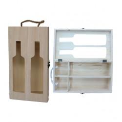 Αλουστράριστο ξύλινο κουτί για 2 φιάλες κρασί 20601232