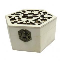 Ξύλινο εξάγωνο αλουστράριστο κουτί σκαλιστό με λουλούδια 20601268