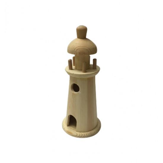 Ξύλινος αλουστράριστος διακοσμητικός φάρος 25cm 20601279