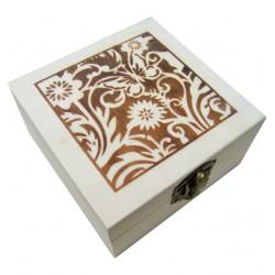 Ξύλινο αλουστράριστο τετράγωνο κουτί διακοσμημένο με πυρογραφία 20601320