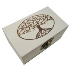 Ξύλινο αλουστράριστο παραλληλόγραμμο κουτί με πυρογραφία δέντρο 20601322