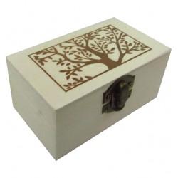 Ξύλινο αλουστράριστο παραλληλόγραμμο κουτί με διακοσμητική πυρογραφία 20601325