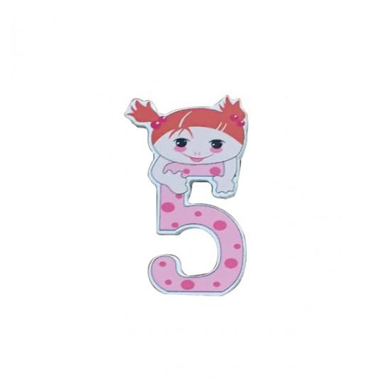 """Ξύλινος αριθμός κορίτσι """"5""""-πέντε 30501347"""
