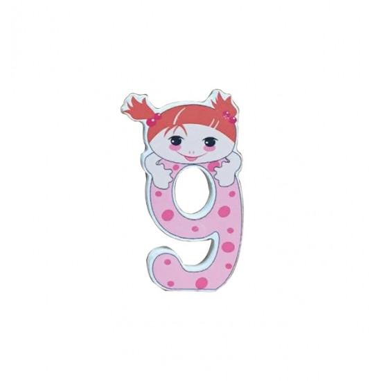 """Ξύλινος αριθμός κορίτσι """"9""""-εννιά 30501351"""