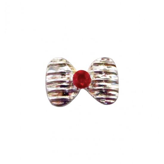 Μεταλλικό διακοσμητικό νυχιών φιόγκος με κόκκινο στρας 40502057-156Α