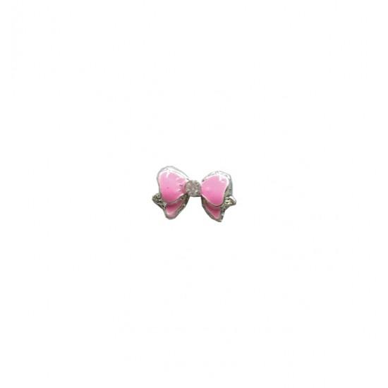 Μεταλλικό διακοσμητικό νυχιών φιόγκος ροζ 40502057-282