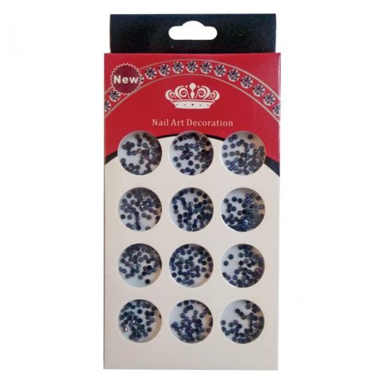 Διακοσμητικά μαύρα στρασάκια νυχιών σε κασετίνα 40502095