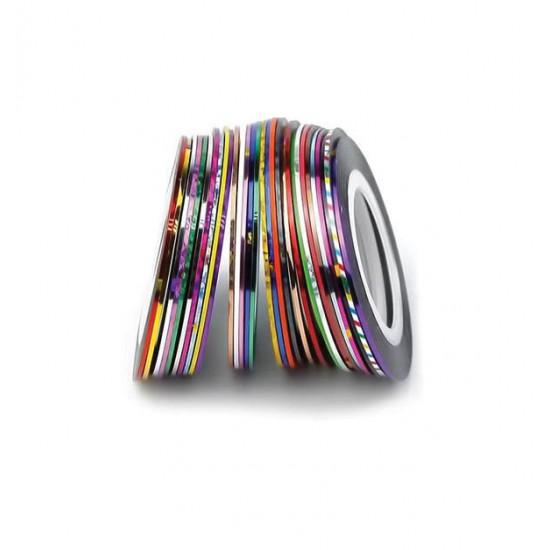 Πολύχρωμη γυαλιστερή διακοσμητική ταινία νυχιών 2mm 40502114-12