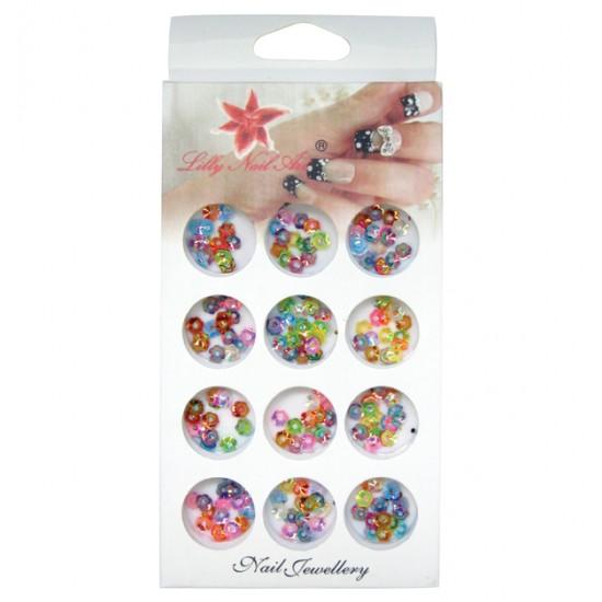 Κασετίνα με διακοσμητικά στρασάκια νυχιών πολύχρωμες μαργαρίτες 40502130