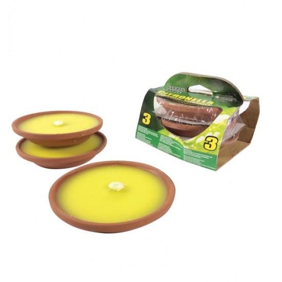 Σετ 3 κεριά σιτρονέλα σε πήλινο πιατάκι 77537884