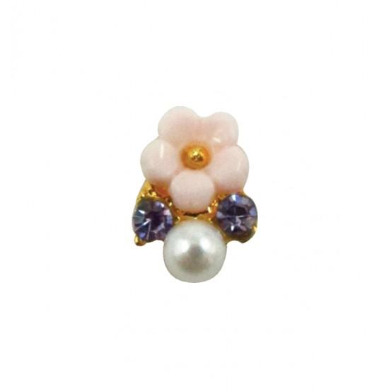 Μεταλλικό διακοσμητικό νυχιών με λουλουδάκι 40502057-D02