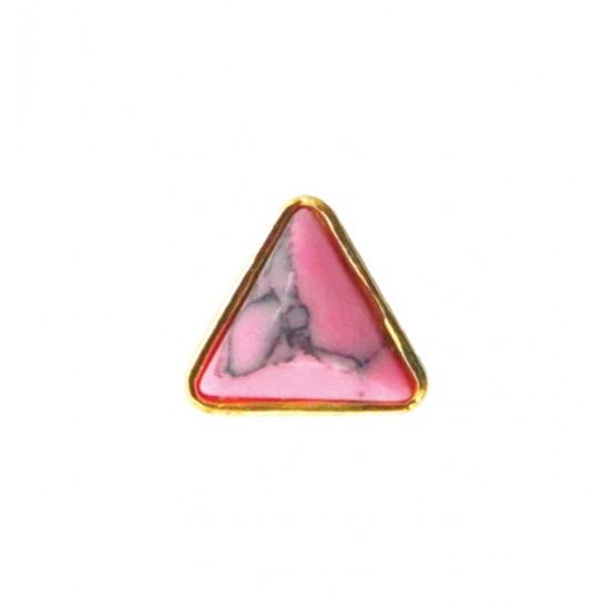 Μεταλλικό διακοσμητικό νυχιών τριγωνικό ροζ με πέτρα 40502057-D04