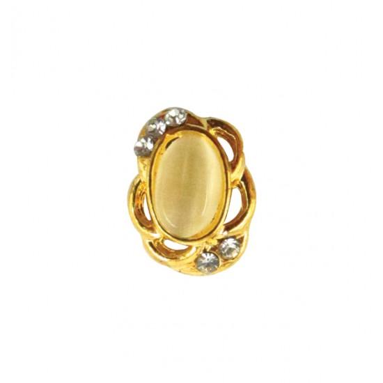 Μεταλλικό διακοσμητικό νυχιών χρυσό οβαλ με στρας 40502057-D07