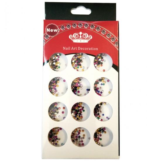Κασετίνα με πολύχρωμα διακοσμητικά στρασάκια νυχιών 40502094