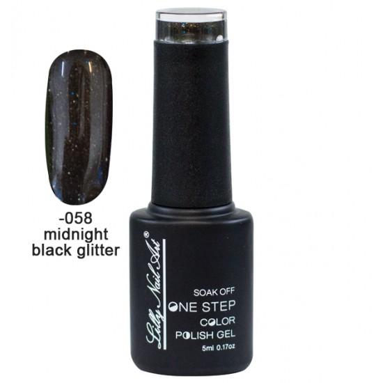 Ημιμόνιμο μανό one step 5ml - Midnight black glitter 40504002-058