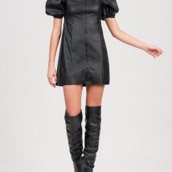A20 Anel Φόρεμα δερμάτινο mini με φουσκωτά μανίκια - 57374a