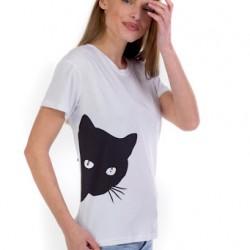 Κοντομάνικη βαμβακερή μπλούζα με σχέδιο - 2055183