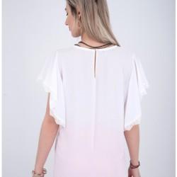 Ασύμμετρη μπλούζα με σχέδιο απο δαντέλα - 2089219