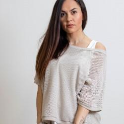 Γυναικεία Ιταλική πλεκτή διχτυωτή μπλούζα με λευκό τοπ - 203984