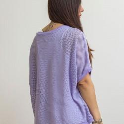 Γυναικεία Ιταλική πλεκτή διχτυωτή μπλούζα με λευκό τοπ - 203986