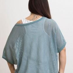 Γυναικεία Ιταλική πλεκτή διχτυωτή μπλούζα με λευκό τοπ - 203985