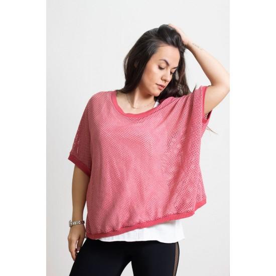 Γυναικεία Ιταλική πλεκτή διχτυωτή μπλούζα με λευκό τοπ - 203981