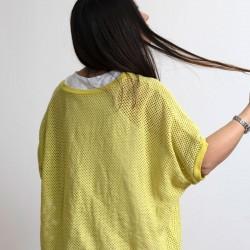 Γυναικεία Ιταλική πλεκτή διχτυωτή μπλούζα με λευκό τοπ - 20398