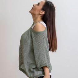 Γυναικεία Ιταλική πλεκτή διχτυωτή μπλούζα με λευκό τοπ - 203982