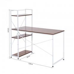 Μεταλλικό Γραφείο με 4 Ράφια 120 x 64 x 121 cm Χρώματος Λευκό HOMCOM 833-397WT