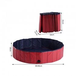 Αναδιπλούμενη Πισίνα για Κατοικίδια 140 x 30 cm PawHut D01-014RD