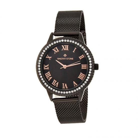 Γυναικείο Ρολόι Χρώματος Μαύρο με Μεταλλικό Μπρασελέ και Κρύσταλλα Swarovski® Timothy Stone Parker Collection P-013-ALBK