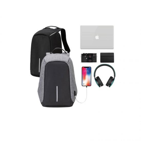 Αντικλεπτικό Σακίδιο Πλάτης με Θύρα Φόρτισης USB Χρώματος Γκρι Hoppline HOP1000827-2