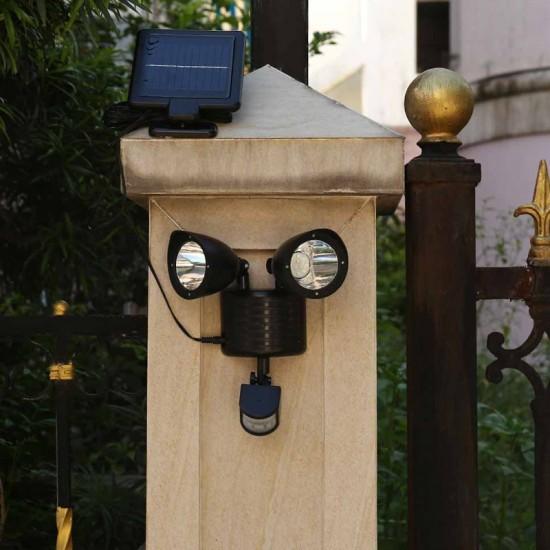 Διπλός Ηλιακός LED Προβολέας 3.7 V με Ανιχνευτή Κίνησης και Φωτοβολταϊκό Συλλέκτη Hoppline HOP1000695