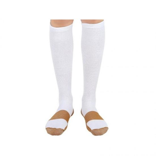Κάλτσες Διαβαθμισμένης Συμπίεσης με Ίνες Χαλκού 2 τμχ Χρώματος Λευκό Medium SPM DB3643
