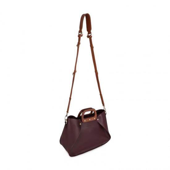 Γυναικεία Τσάντα Ώμου με Ξύλινες Λαβές Χρώματος Μπορντό Laura Ashley Melville 651LAS1530