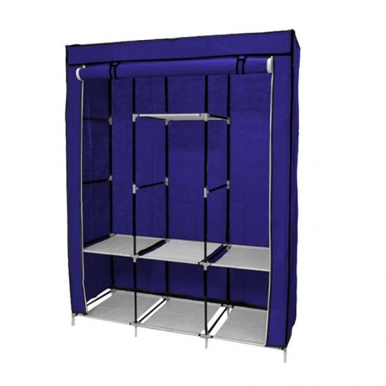 Φορητή Υφασμάτινη Ντουλάπα με Μεταλλικό Σκελετό 130 x 45 x 170 cm Χρώματος Μπλε Hoppline HOP1000701-1