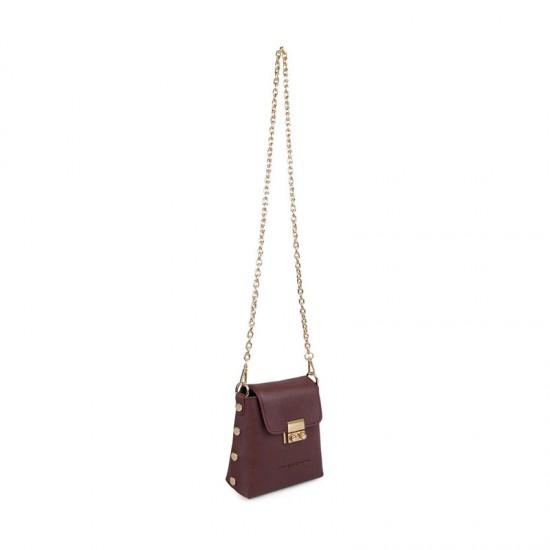 Γυναικεία Τσάντα Ώμου με Αλυσίδα Χρώματος Μπορντό Beverly Hills Polo Club 657BHP0856