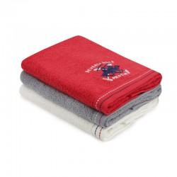 Σετ με 3 Πετσέτες Προσώπου 50 x 90 cm Χρώματος Κόκκινο - Γκρι - Λευκό Beverly Hills Polo Club 355BHP2291