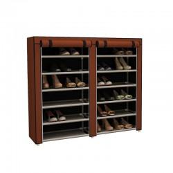 Stand Αποθήκευσης Παπουτσιών με 12 Ράφια 29 x 115 x 109 cm Χρώματος Καφέ Hoppline HOP1000975-1