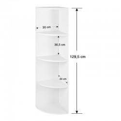 Γωνιακή Ξύλινη Ραφιέρα με 4 Ράφια 30 x 30 x 129.5 cm VASAGLE LBC42WT