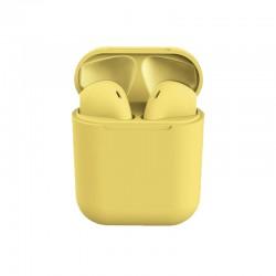 Ασύρματα Ακουστικά Bluetooth με Βάση Φόρτισης i12 TWS Χρώματος Κίτρινο SPM I12-Yellow